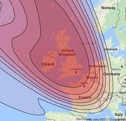 Sky TV Offshore Footprints - Sky Offshore